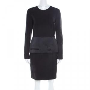 Balenciaga Black Satin Peplum Detail Long Sleeve Dress M