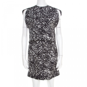 Balenciaga Monochrome Scribbled Noise Print Drop Waist Belted Dress S - used