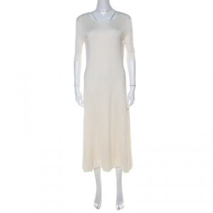 Balenciaga Cream Geometric Jacquard Patterned Silk Flared Midi Dress M