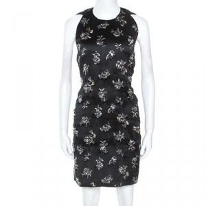Balenciaga Black Silk Blend Embellished Sleeveless Trapeze Dress M - used