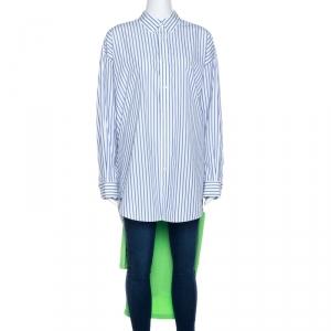 Balenciaga Bicolor Striped Cotton T-Shirt Detail Oversized Shirt S - used