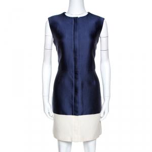 Balenciaga Bicolor Silk and Canvas Sleeveless Dress L - used