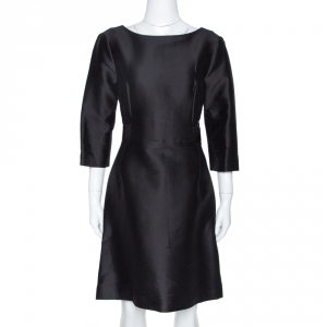 Balenciaga Black Cotton and Silk Blend Belted Three Quarter Sleeve Dress S - used