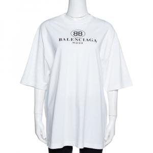 Balenciaga White BB Mode Print Cotton Oversized T-Shirt S