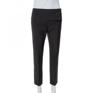 Balenciaga Black Wool Flap Closure Detail Tailored Pants M