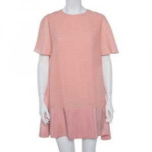 Balenciaga Silk Pink Pintuck Detail A-Line Shift Dress L - used