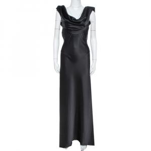 Balenciaga Paris Black Satin Draped Neck Detail Evening Gown M - used