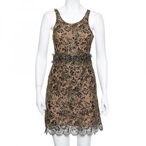 Balenciaga Black & Gold Lace Sleeveless Mini Dress S - used