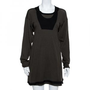 Balenciaga Knits Khaki & Black Wool Mini Dress S - used