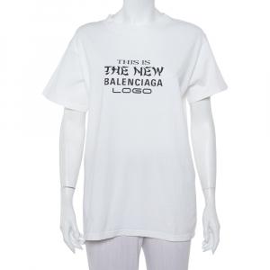 Balenciaga White Cotton New Logo Printed Crewneck T-Shirt M - used
