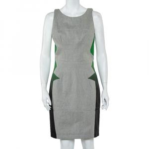 Balenciaga Grey Denim Contrast Printed Sleeveless Sheath Dress M - used