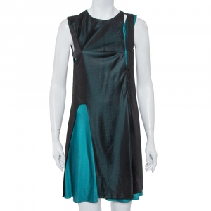 Balenciaga Black & Teal Green Knit Paneled Sleeveless Shift Dress L - used