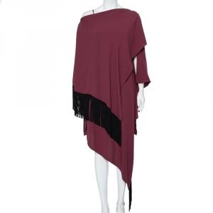Balenciaga Burgundy Crepe Fringed Cape Detail Asymmetric Hem Midi Dress L - used