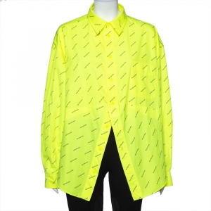 Balenciaga Neon Yellow Logo Printed Button Front Oversized Shirt S
