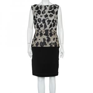 Balenciaga Black Patterned Wool & Knit Paneled Sleeveless Dress M - used