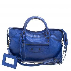حقيبة يد بالنسياغا RH سيتي كلاسيك جلد زرقاء