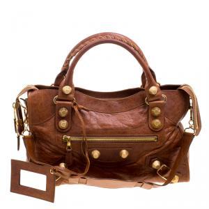 حقيبة يد بالنسياغا GGH سيتي كلاسيك جلد بنية
