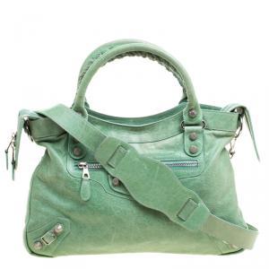 Balenciaga Sea Green Leather Town RSH Shoulder Bag