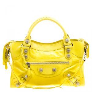 حقيبة يد بالنسياغا  سيتي كلاسيكية جلد كريمية GSH