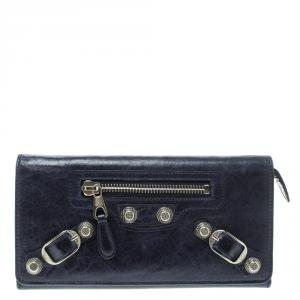 Balenciaga Electric Blue Leather Classic Money Continental Wallet