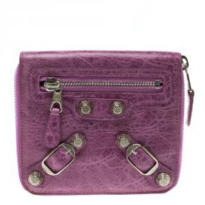 Balenciaga Bubble Gum Leather Silver Mini Compagnon Wallet