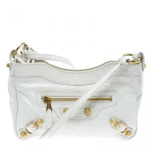 Balenciaga Creme Ivoire Leather Gold Hardware Hip Crossbody Bag