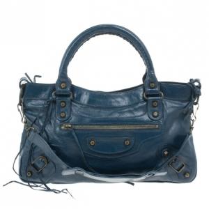 Balenciaga Blue Leather First Tote