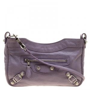 Balenciaga Lilac Leather Hip Crossbody Bag