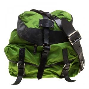 Balenciaga Green/Black Nylon and Leather Shoulder Bag