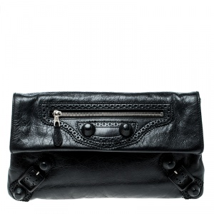 Balenciaga Black Leather Giant Envelope Flap Clutch