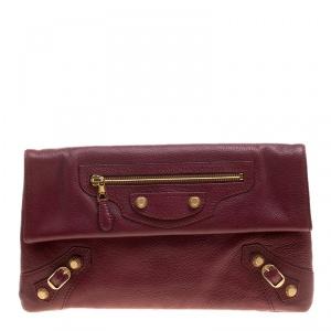 Balenciaga Bordeaux Leather Giant 12 Gold Hardware Envelope Clutch