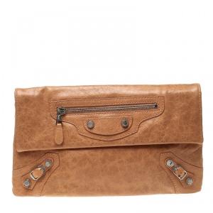 Balenciaga Caramel Leather Silver Hardware Envelope Clutch