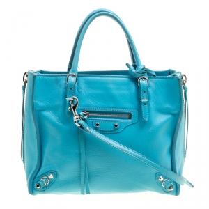 Balenciaga Caribbean Blue Leather Mini Papier A4 Magnet Top Handle Shoulder Bag