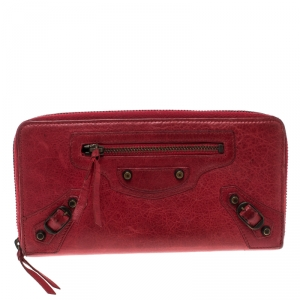 Balenciaga Red Leather Continental Zip Around Wallet