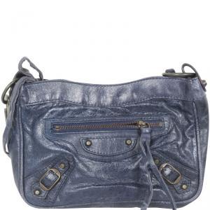 Balenciaga Navy Blue Mini City Clutch Bag