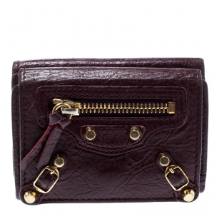Balenciaga Grenat Leather City Wallet