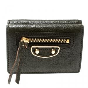 Balenciaga Olive Green Leather Mini Arena Wallet