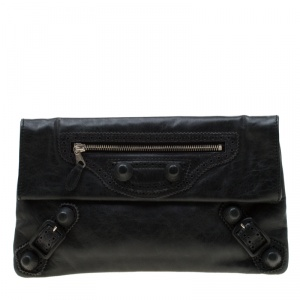 Balenciaga Anthracite Leather CGH Envelope Clutch