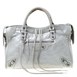 حقيبة يد بالنسياغا كلاسيك سيتي RH جلد فضية