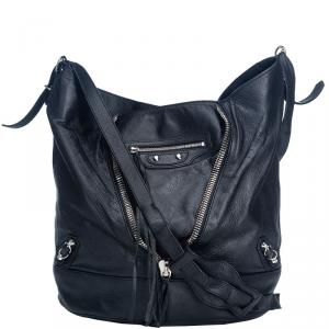 Balenciaga Black Leather Papier Drop Shoulder Bag