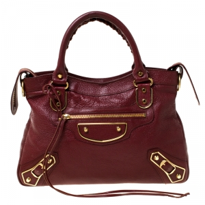 Balenciaga Burgundy Leather Town RGH Shoulder Bag