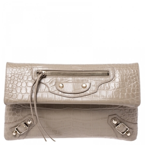 Balenciaga Nude Croc Embossed Leather Classic Envelope Clutch