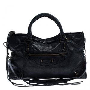 حقيبة يد بالنسياغا كلاسيك سيتي جلد سوداء