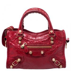 Balenciaga Red Leather Mini RGH City Bag
