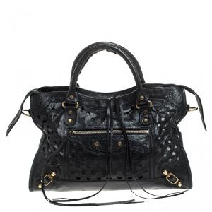 Balenciaga Black Perforated Leather Classic City Tote