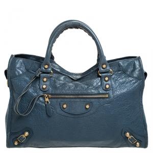 حقيبة بالنسياغا سيتي GH جلد زرقاء