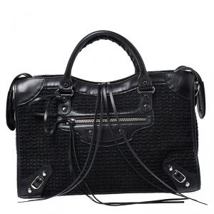 Balenciaga Black Leather and Mesh Silver Hardware City Bag