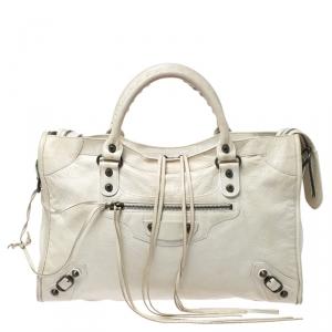 حقيبة بالنسياغا كلاسيك سيتي جلد أبيض