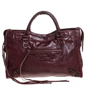 Balenciaga Maroon Leather Classic City Tote