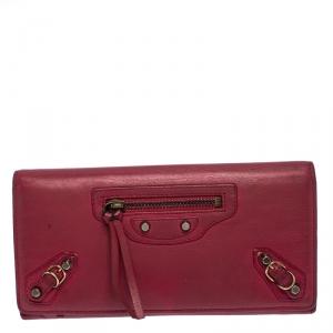 Balenciaga Magenta Leather Classic Money Long Wallet